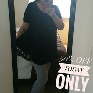 Black tunic swing top with lace detail